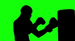 240x134 Boxer Working The Bag Silhouette Against White Background ~ Video