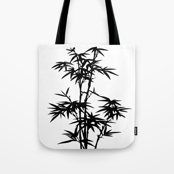 700x700 Bamboo Silhouette Black And White Tote Bag By Lebensartdesign