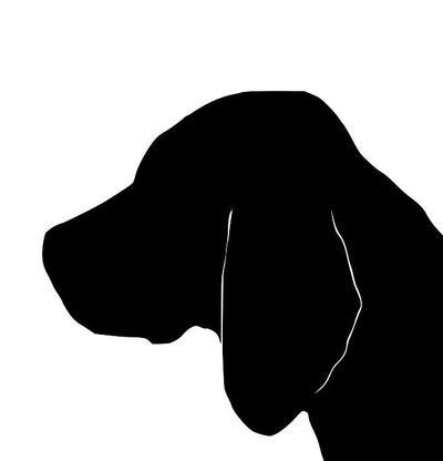 400x416 Beagle Portrait Silhouette Design Extra Large Cotton Canvas Tote