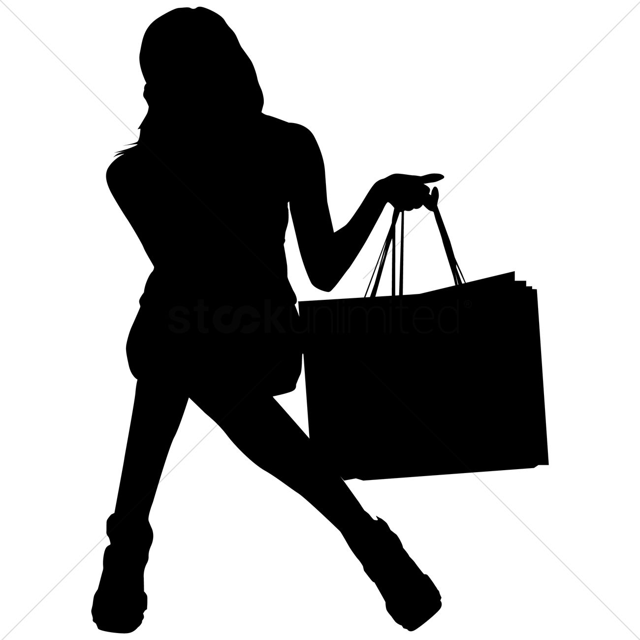 1300x1300 Free Silhouette Of A Woman With Shopping Bags Vector Image
