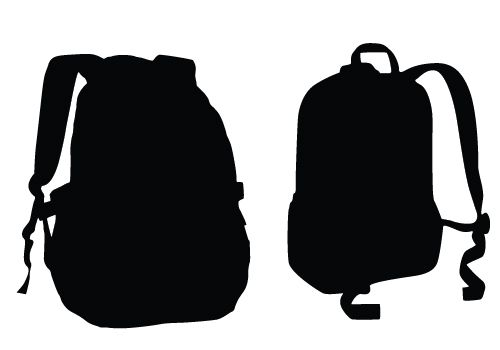 500x350 School Bags Silhouette Vector Die Cutting