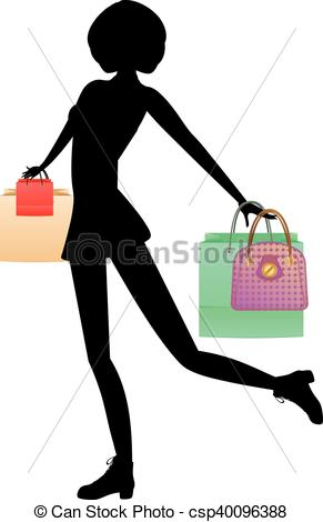 291x470 Shopping Girl With Bags Silhouette. Silhouette Of Fashion