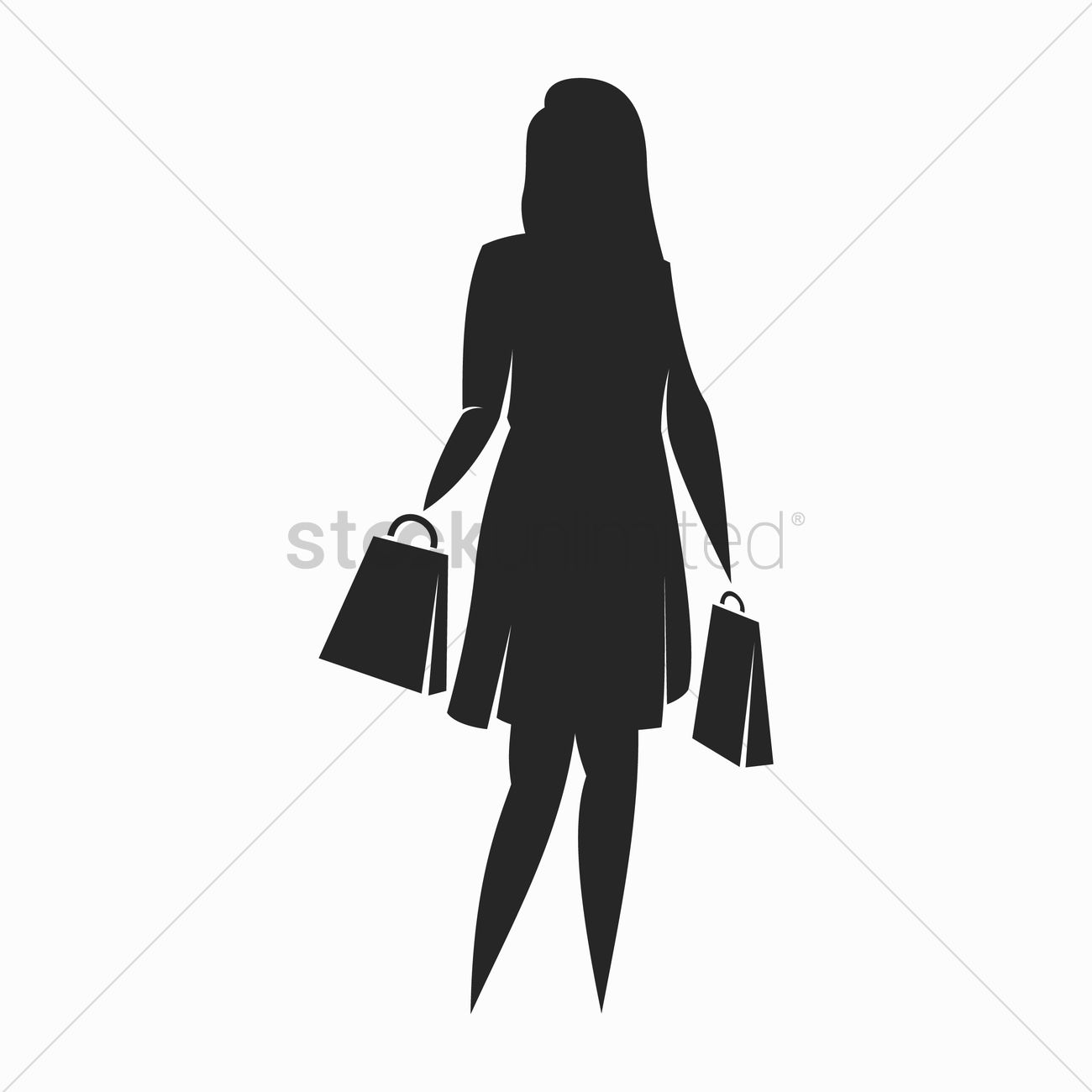 1300x1300 Silhouette Of Woman Holding Shopping Bag Vector Image