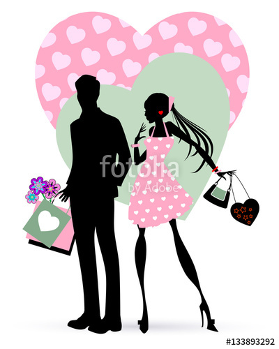 400x500 Valentine Shopping. Couple Silhouette With Shopping Bags Stock