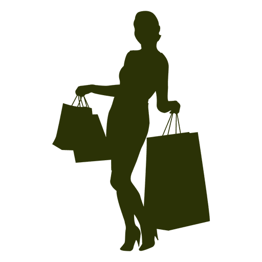 512x512 Woman Shopping Silhouette With Bags Posing