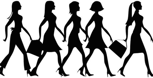 595x304 Women, Females, Silhouette, Outline, Walking, Handbags, Bags