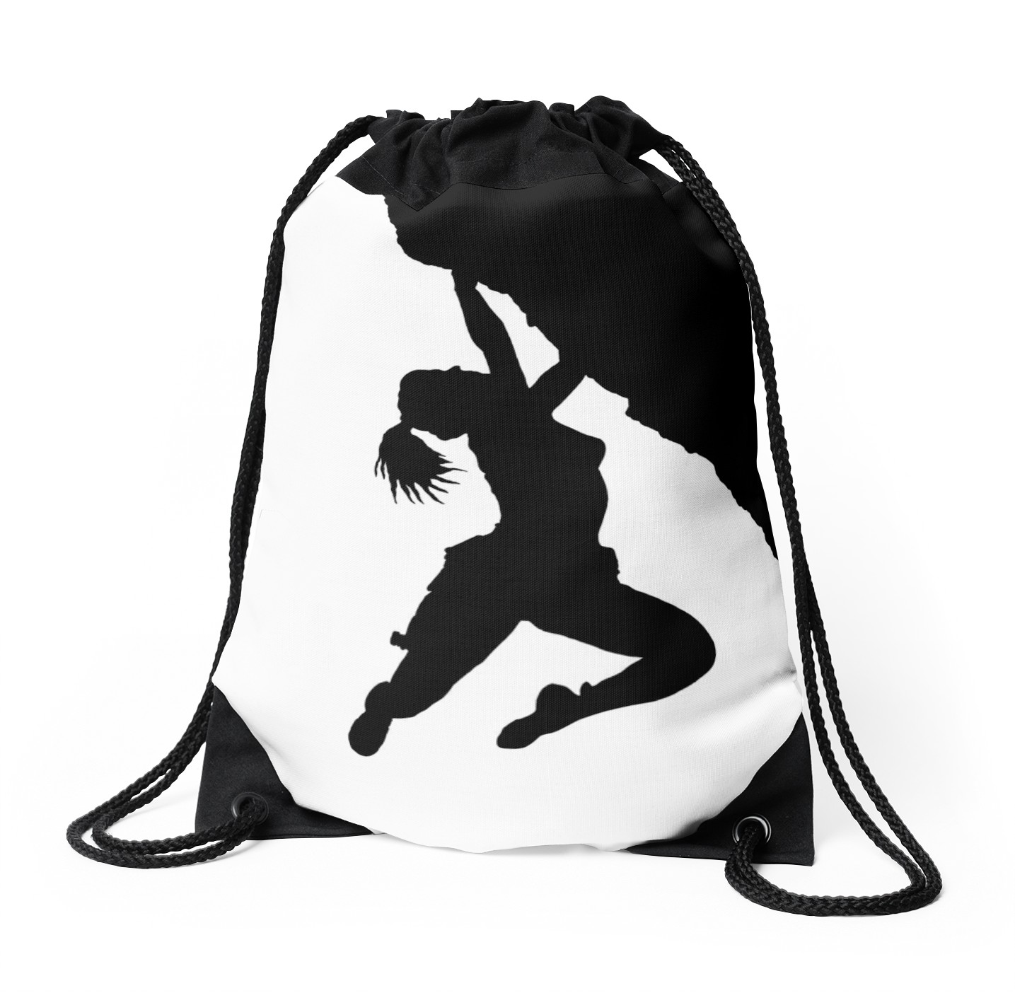 1435x1404 Girl Bouldering Silhouette Drawstring Bags By Mindgoop Redbubble