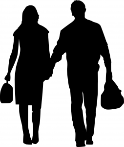 254x300 Couple Silhouette Carrying Bags Photo Free Download