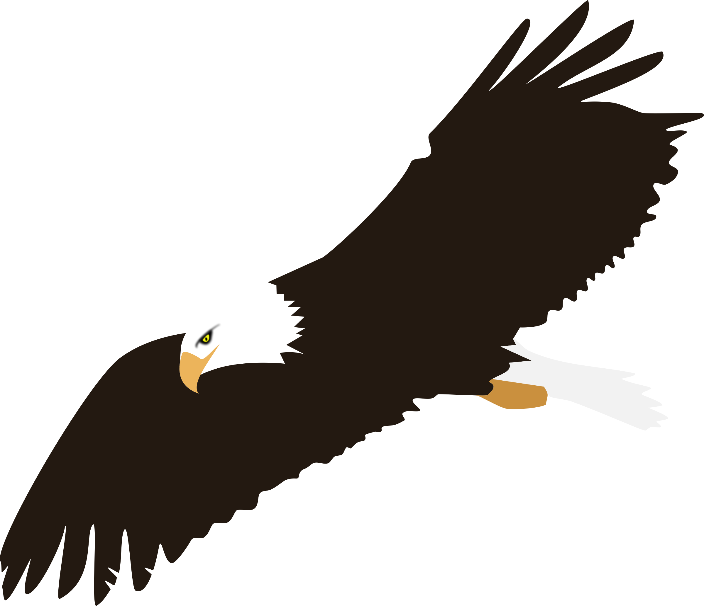 2400x2068 Soaring Bald Eagle Vector Clipart Image