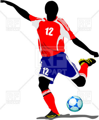 329x400 Silhouette Of Soccer Player Hitting The Ball Royalty Free Vector