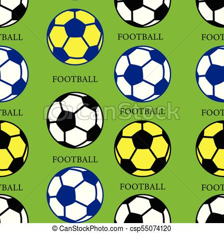 450x470 Soccer Ball (Black, Yellow, Blue), Seamless Pattern, Vector