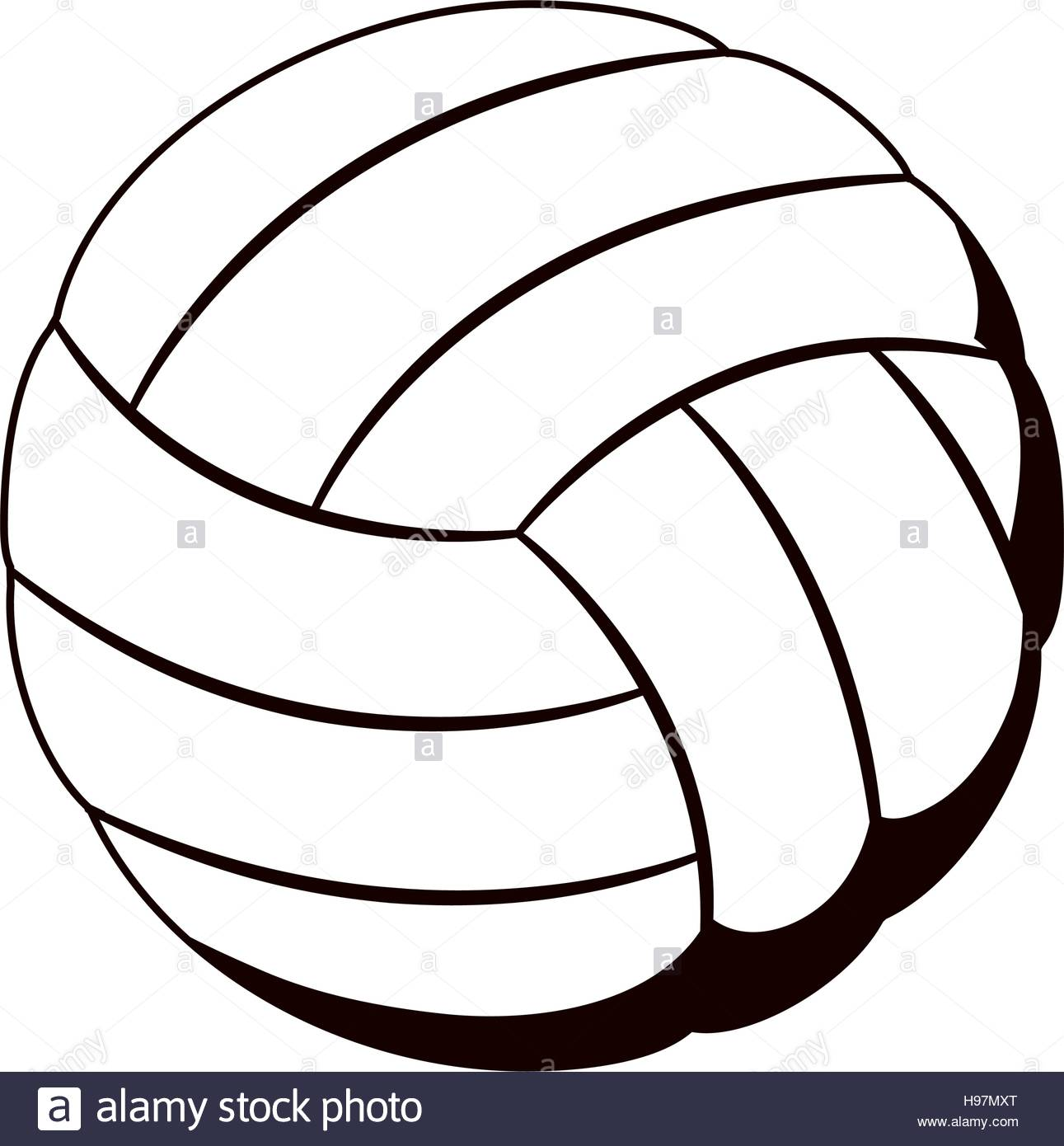 1291x1390 Silhouette Monochrome With Volleyball Ball Stock Vector Art