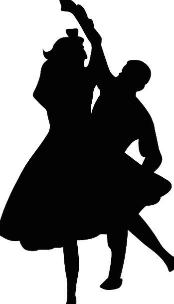 349x609 Couple, Twosome, Bopping, Silhouette, Outline, Dancing, Black