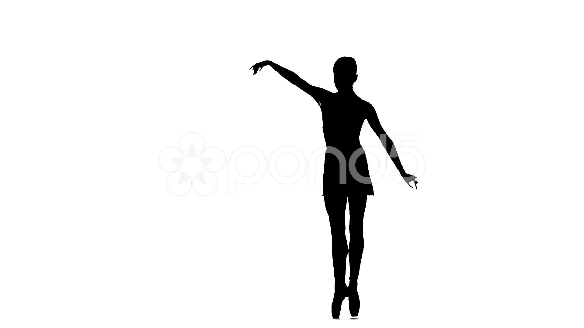 1920x1080 Little Ballerina Girl Posing On A White Background. Silhouette