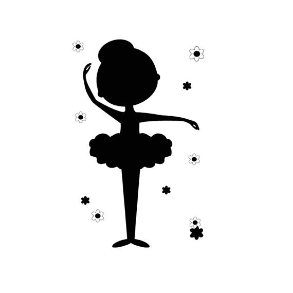 570x570 Pink Ballerina Silhouette Wall Art Prints Girl Ballet Nursery [514