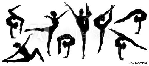 500x224 Silhouette Gymnast Dancer, Set Of Ballerina Female Flexible Pose
