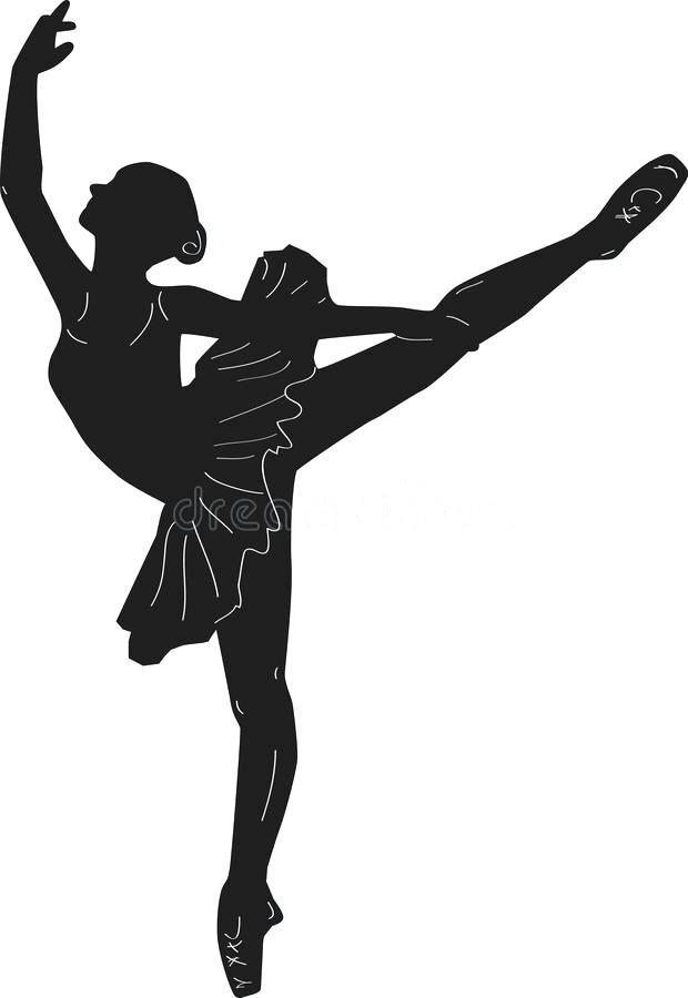 620x900 Ballerina Print Outline Silhouette Dance Stock Illustration