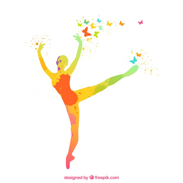 626x626 Hand Painted Ballerina Silhouette Vector Free Download