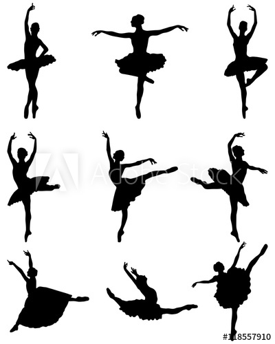 400x500 Black Silhouettes Of Ballerinas On A White Background, Vector