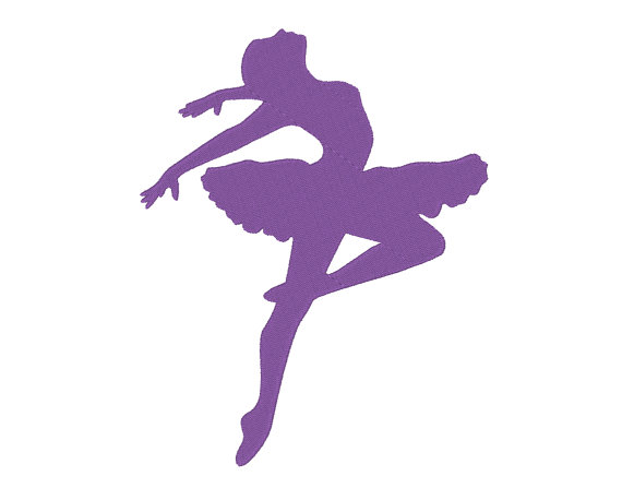 570x458 Leaping Ballerina Ballet Dancer Silhouette Embroidery Machine