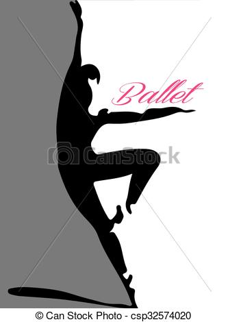 333x470 Ballet Dancer Silhouette 4 Pink Lettering Vector Illustration