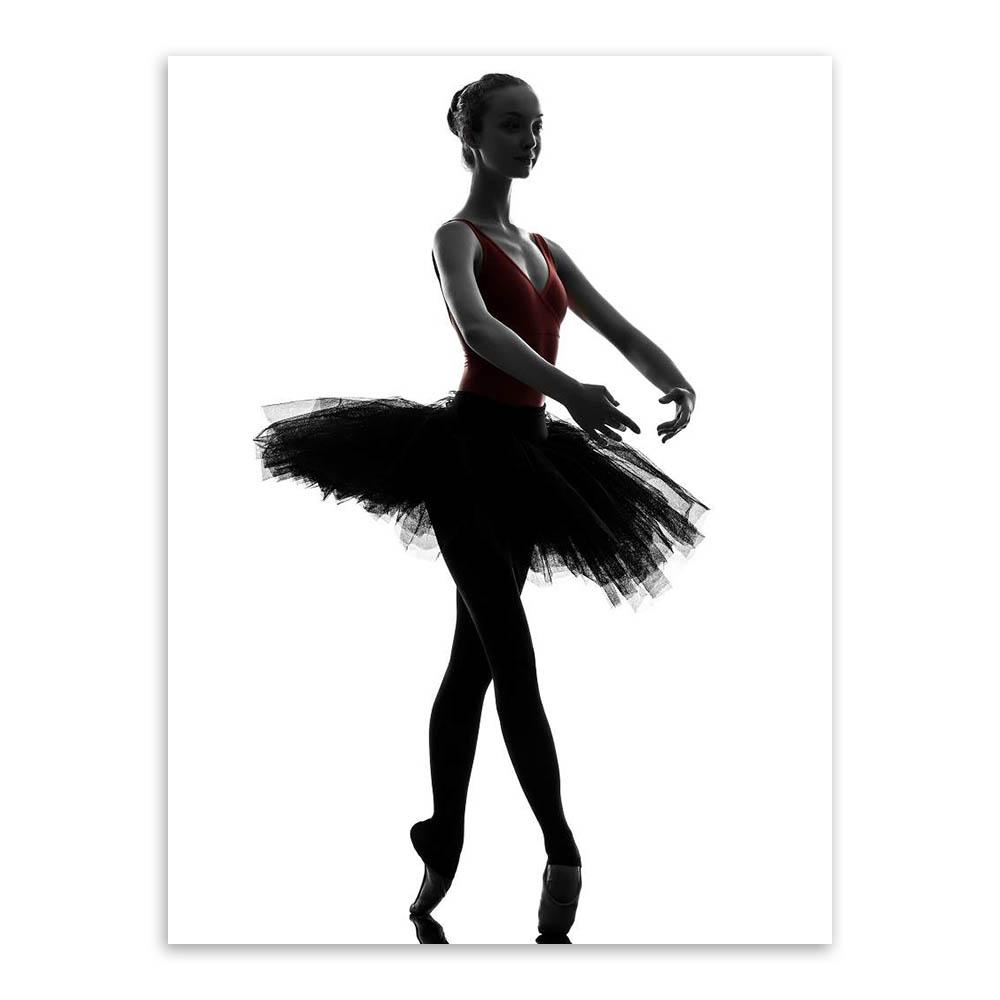 1000x1000 Modern Black White Ballet Dancer Silhouette Beauty Girl Photo Art