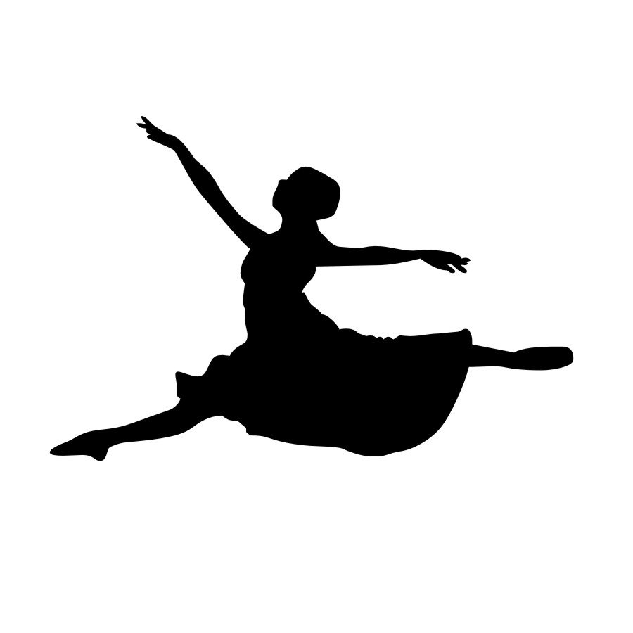 900x900 Vinyl Leaping Ballet Dancer Pattern Silhouette Removable Wall