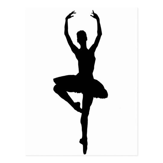 540x540 Ballerina Pirouette (Ballet Dance Silhouette) ~~ Postcard Zazzle