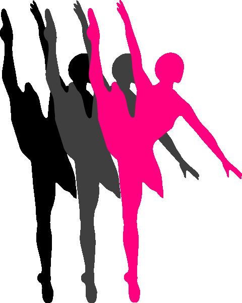 480x601 Triple Ballet Dancer Silhouette Clip Art
