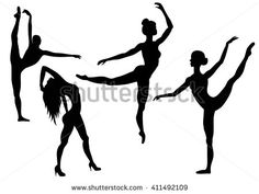 236x177 Hand Painted Wall Murals With Gymnastics Silhouettes