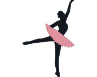 340x270 Dancer Machine Embroidery Design, 2 Sizes, Silhouette, Ballet
