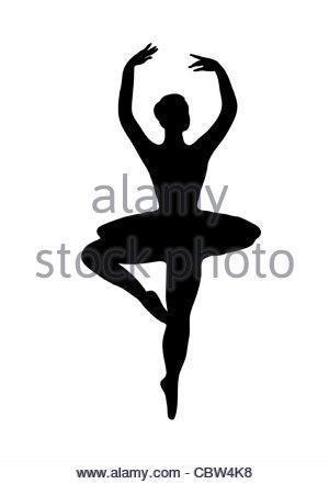300x441 Ballet Pose Silhouette Bw Illustration Stock Photo 41671654