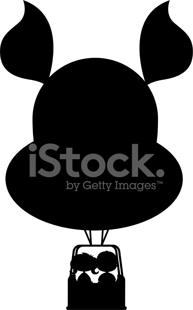 638x1024 Kids In Hot Air Balloon Silhouette Stock Vector