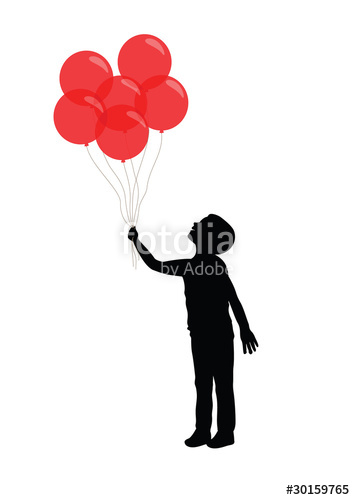 355x500 Silhouette Of A Boy Holding Red Balloons Stock Image And Royalty