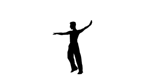 590x332 Man Solo Dancing Elements Of Ballroom Dancing. Black Silhouette
