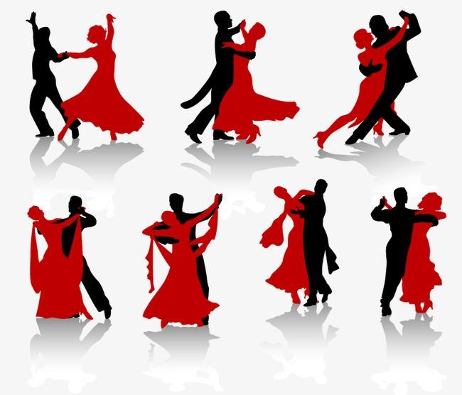 650x556 Ballroom Dance Action Figures Silhouette Vector Material, Ballroom