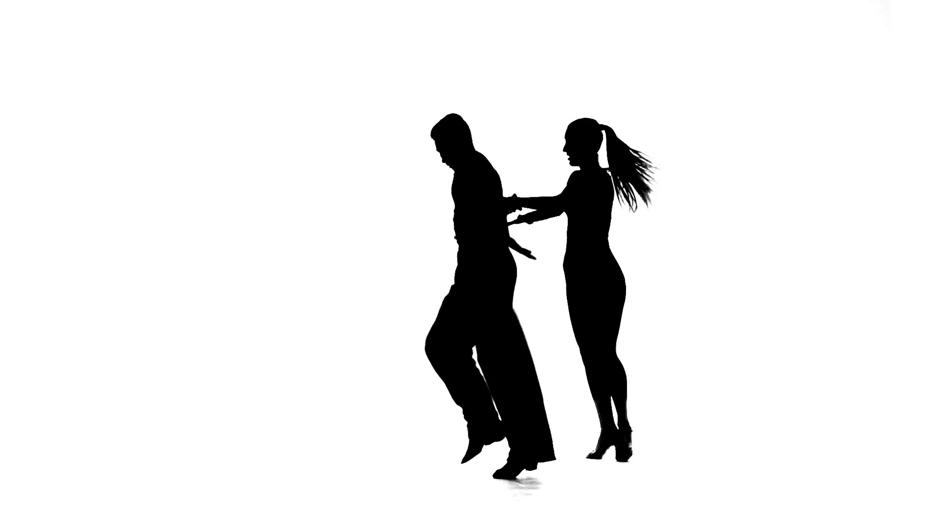 1920x1080 Silhouette Of Girl Performing Ballroom Dance. White Background