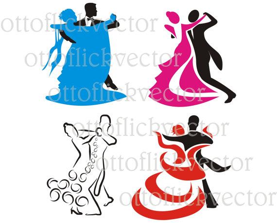 570x458 Dancing Silhouettes Vector Clipart, Ballroom Dancing Eps, Ai, Cdr
