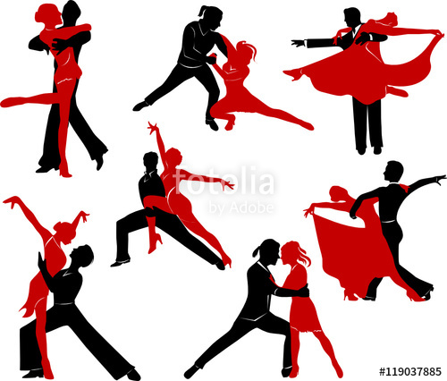 500x426 Silhouettes Of The Pairs Dancing Ballroom Dances. Stock Image