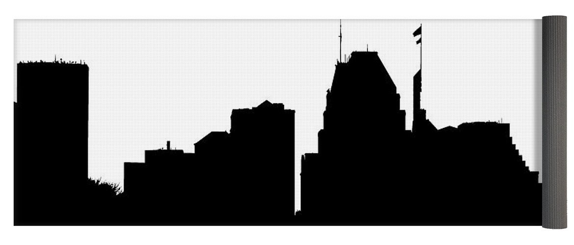 1171x500 Baltimore Skyline Silhouette Yoga Mat For Sale By William Bartholomew