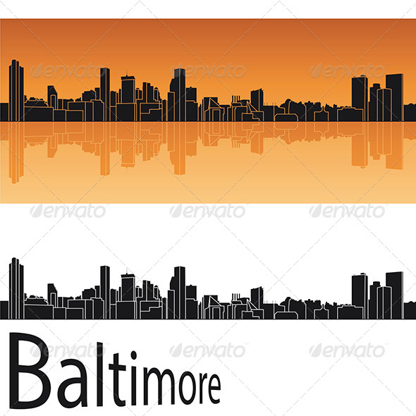 590x590 Baltimore Skyline In Orange Background By Paulrommer Graphicriver