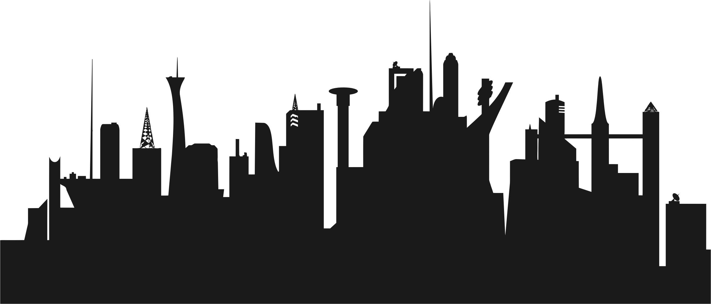2305x986 City Skyline Clipart Png