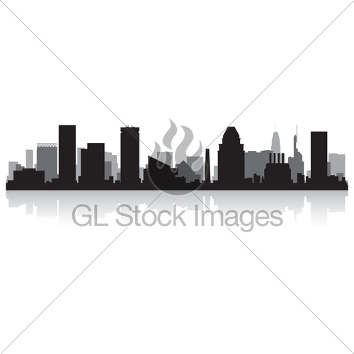 500x500 Baltimore City Skyline Silhouette Gl Stock Images