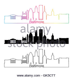 300x320 Baltimore Maryland City Skyline Silhouette. Vector Illustration