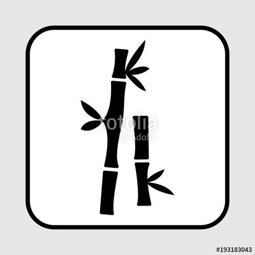 500x500 Bamboo Icon. Black Silhouette. Vector Illustration Stock Image
