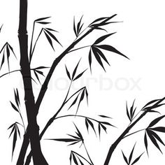 236x236 Bamboo Painting Vector Illustration, Contains Transparencies