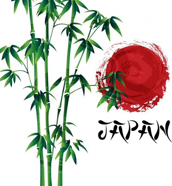 554x600 Japan Background Green Bamboo Sun Icon Grunge Design Free Vector