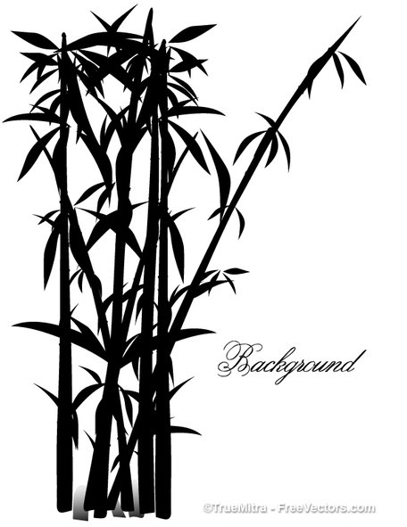 456x591 Bamboo Tree Silhouettes, Vector Graphic
