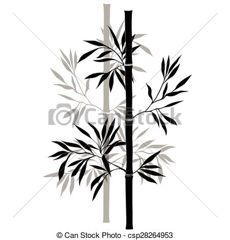 450x470 Bamboo Branches Isolated On The White Background. Black Clipart