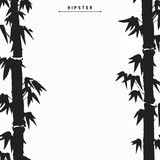 160x160 Bamboo Tree Silhouette Card Design, Vector Illustration. Stock
